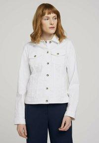 TOM TAILOR - MIT KNITTERDETAILS - Denim jacket - white - 0