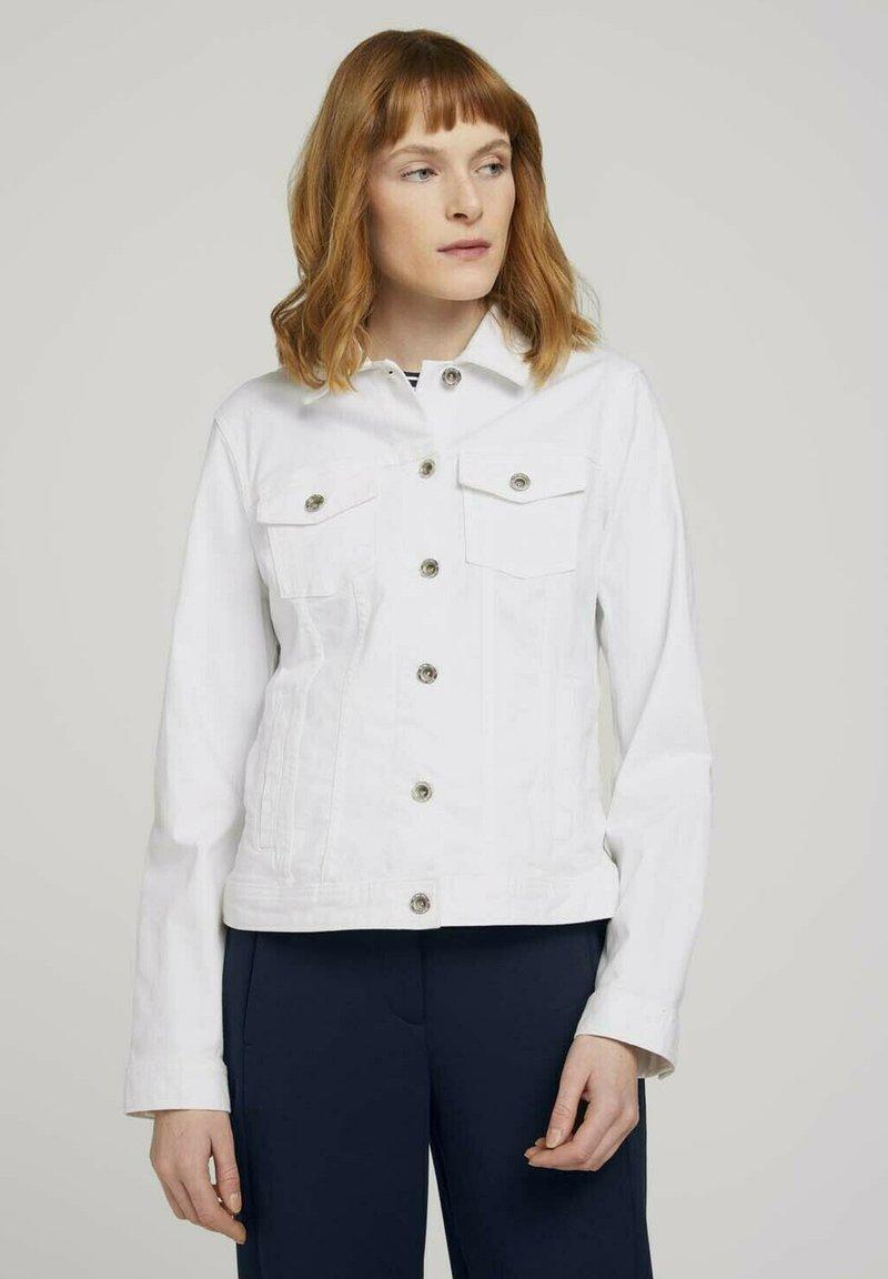 TOM TAILOR - MIT KNITTERDETAILS - Denim jacket - white