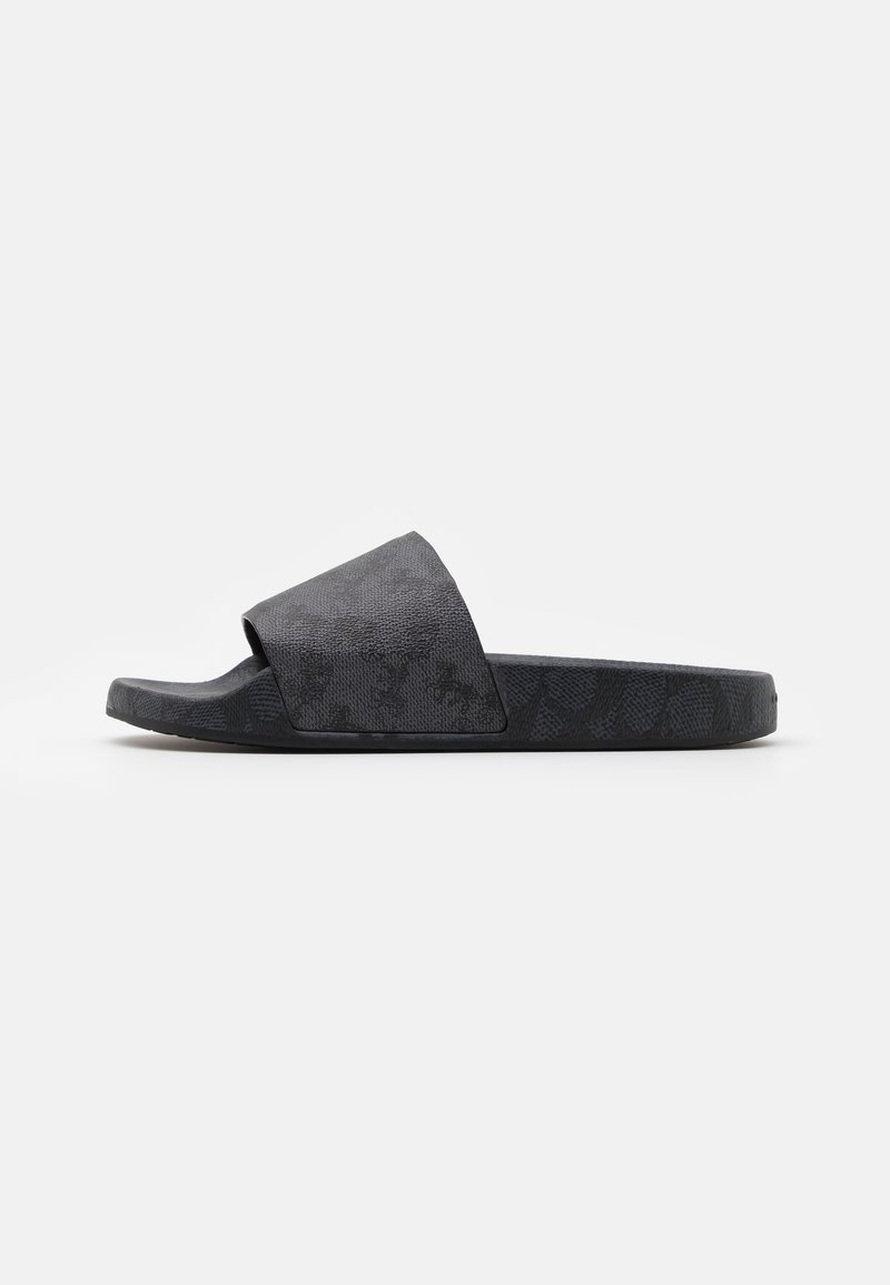 Coach - HORSE AND CARRIAGE SIGNATURE BLOCKED POOL SLIDE - Mules - blue steel/charcoal