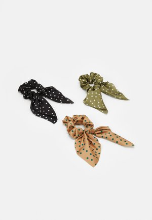 PCKINSLEY BOW SCRUNCHIE 3 PACK - Hair styling accessory - black/green/beige