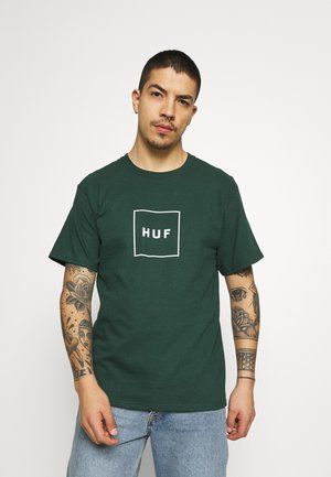 ESSENTIALS BOX LOGO TEE - Print T-shirt - dark green