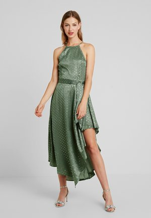 SPOT MIDI DRESS - Vestido de cóctel - green/silver