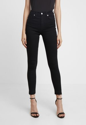 HIGH WAIST OPEN HEM - Skinny džíny - black