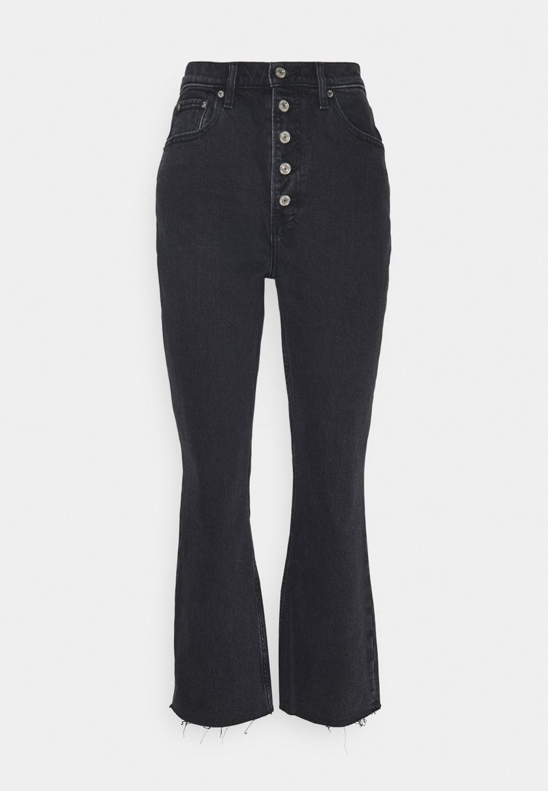 Abercrombie & Fitch - CURVE KICK FLARE WITH BUTTON DETAIL - Flared Jeans - black