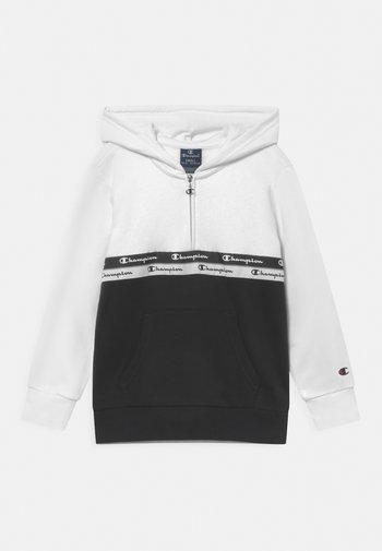 AMERICAN TAPE HOODED HALF ZIP UNISEX - Sweatshirt - white/black