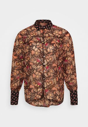 BUTTON THROUGH IN MIXED PRINTS - Button-down blouse - brown/black/pink