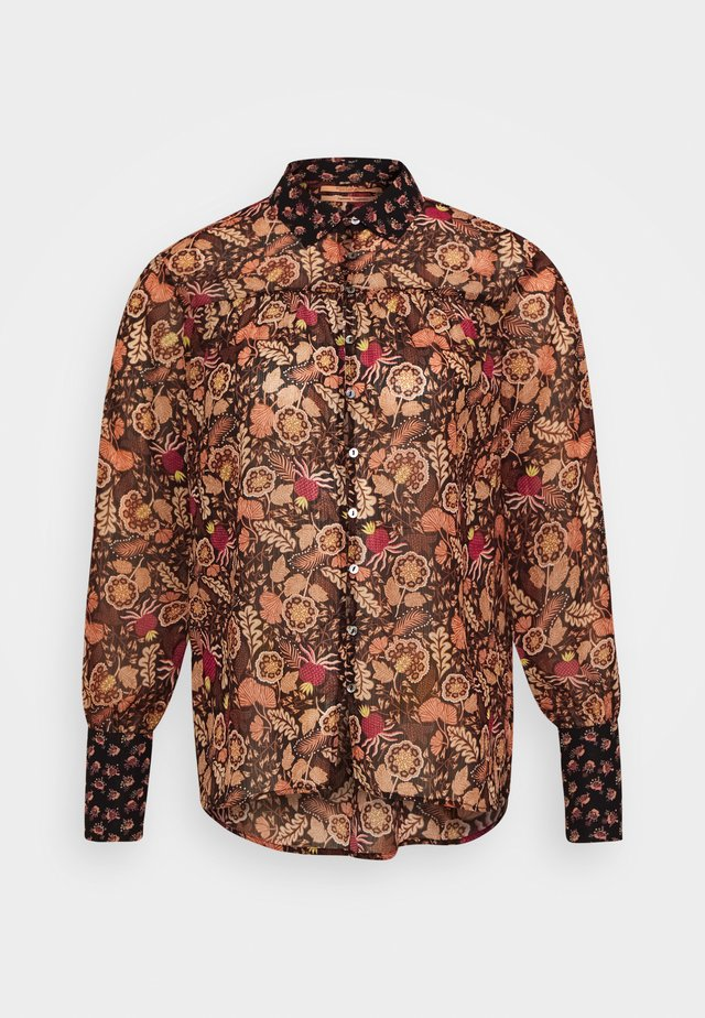 BUTTON THROUGH IN MIXED PRINTS - Chemisier - brown/black/pink