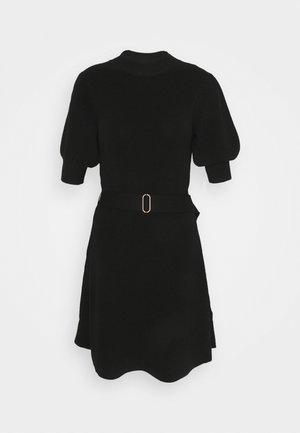 LOUISA SHORT PUFF SLEEVE DRESS - Sukienka dzianinowa - black