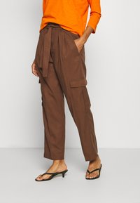 Marc O'Polo DENIM - PANT WIDER LEG TURN UP DETAIL - Stoffhose - coconut shell - 0