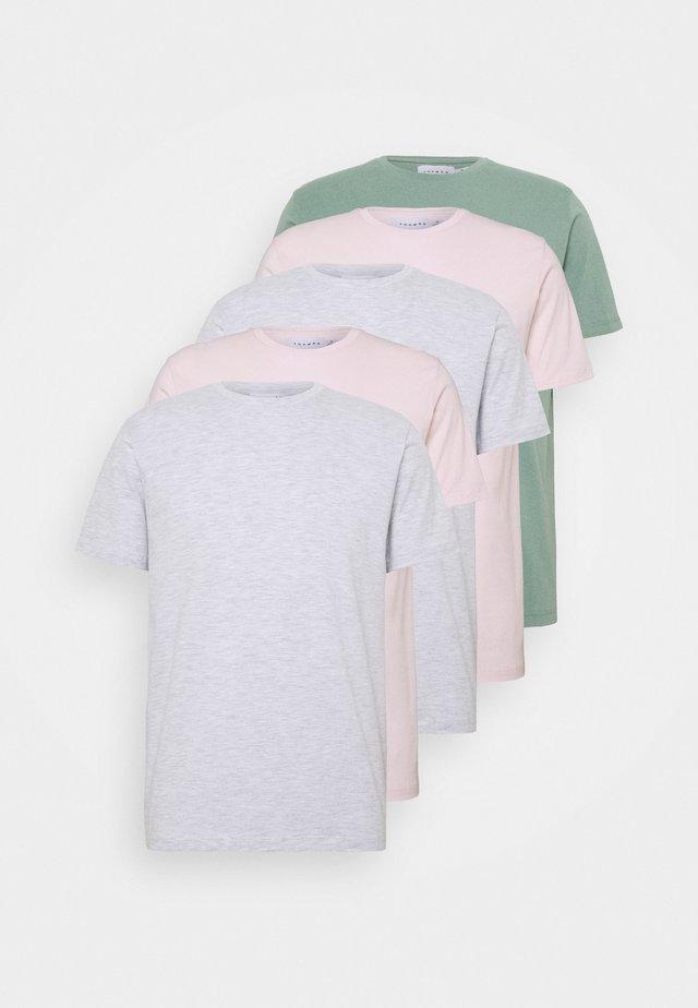 5 PACK - Basic T-shirt - grey/green/off-white
