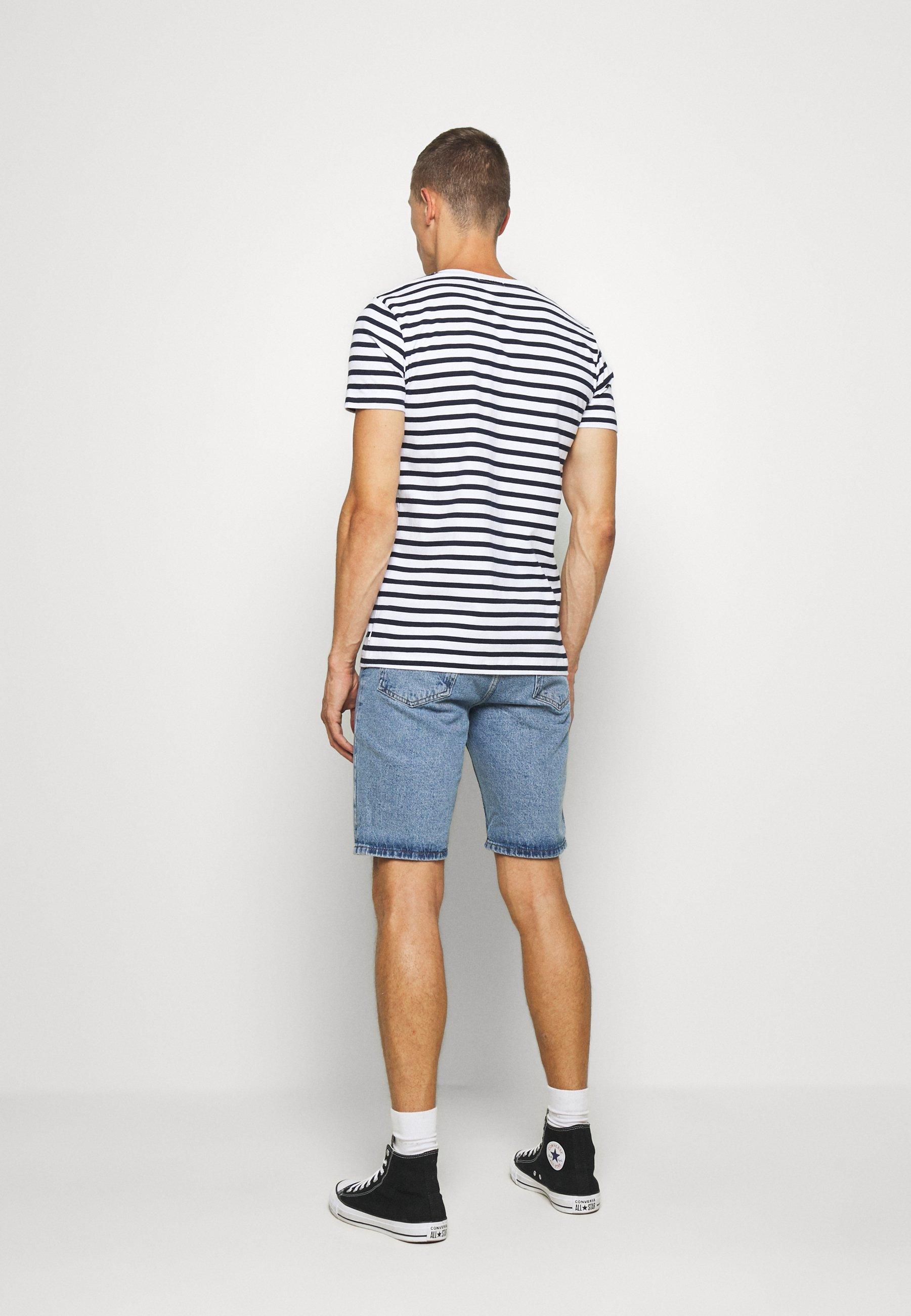 TOM TAILOR DENIM STRIPED EMBROIDERY - Print T-shirt - navy stripe bold bzuoE