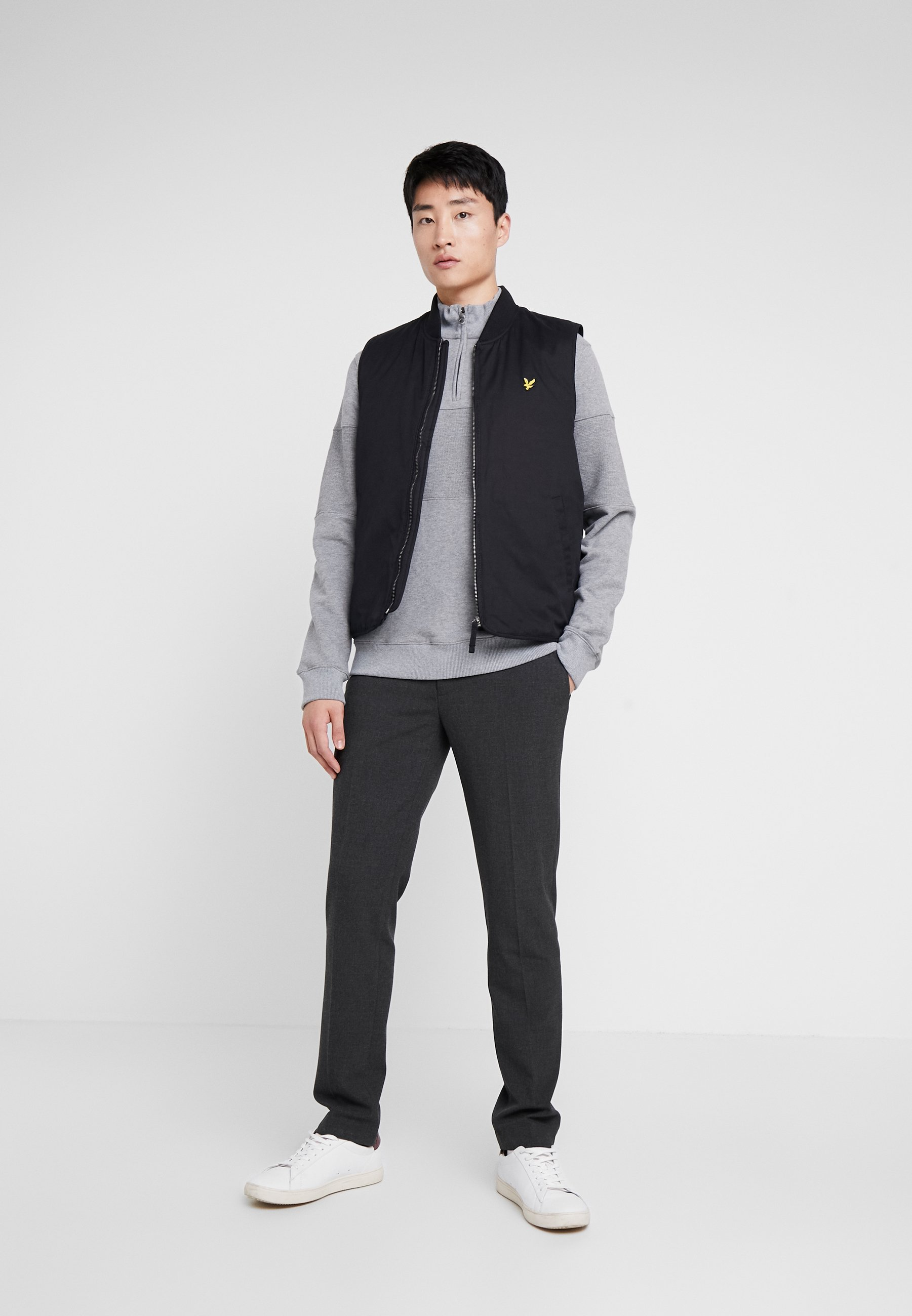 Lyle & Scott CONTRAST PANEL FUNNEL NECK - Sweatshirt - mid grey