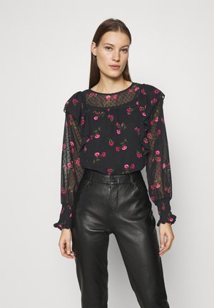 DOBBY LONG SLEEVE - Blouse - black