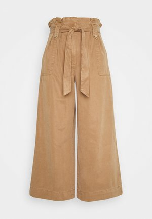 WIDE CROP - Jeansy Relaxed Fit - brown
