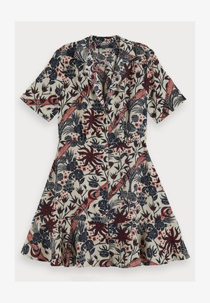 SCOTCH & SODA SHORT SLEEVE PRINTED BUTTON UP MINI DRESS - Blousejurk - combo h