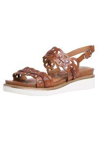 Tamaris - Wedge sandals - cognac/croco - 2