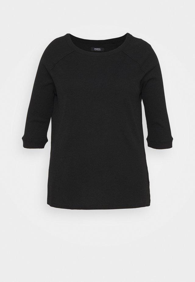 CREW NECK LONGLINE - Top sdlouhým rukávem - black