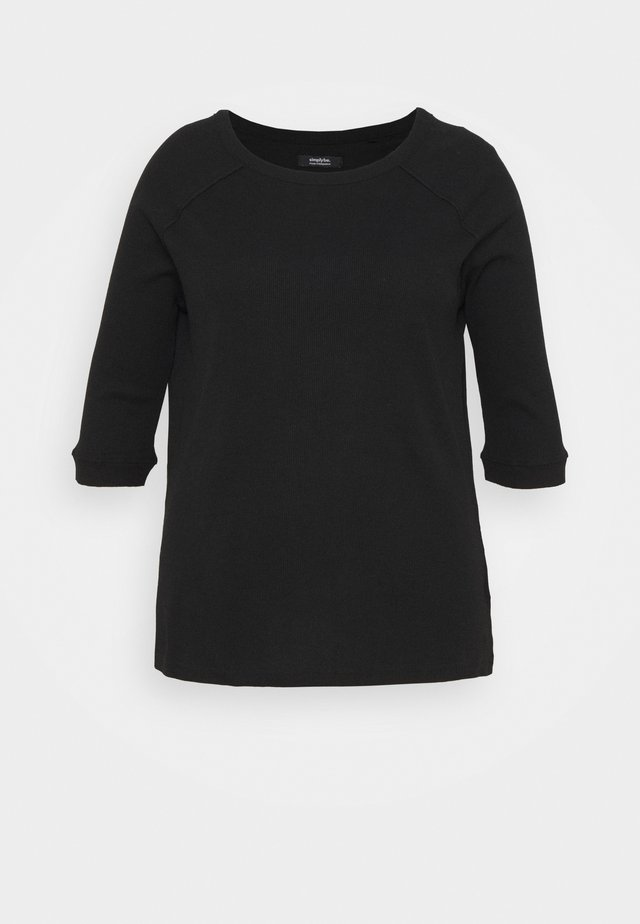 CREW NECK LONGLINE - Maglietta a manica lunga - black