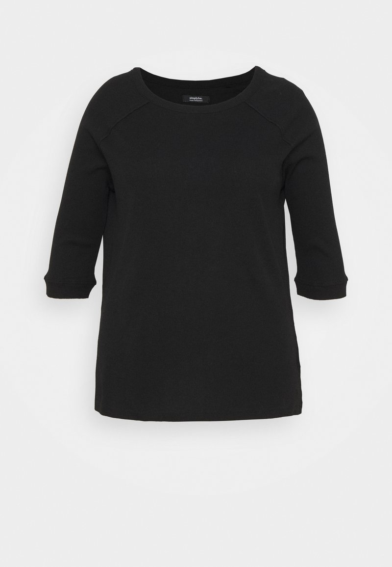 Simply Be - CREW NECK LONGLINE - Long sleeved top - black