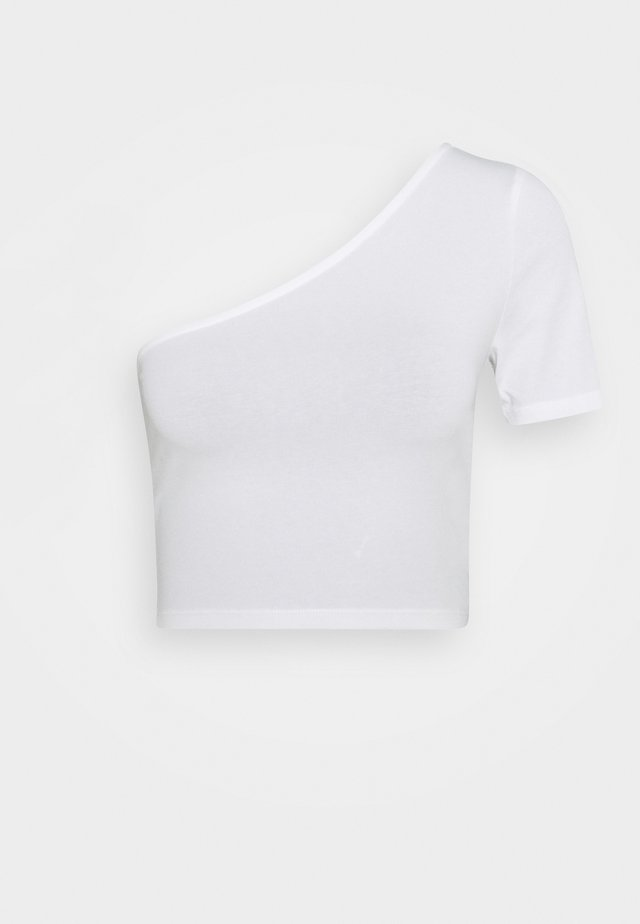 ONE SHOULDER CROP TEE - Basic T-shirt - white