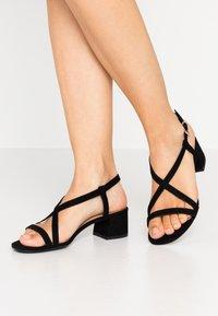New Look Wide Fit - WIDE FIT RULIE MULTI STRAP BLOCK HEEL  - Sandaler - black - 0
