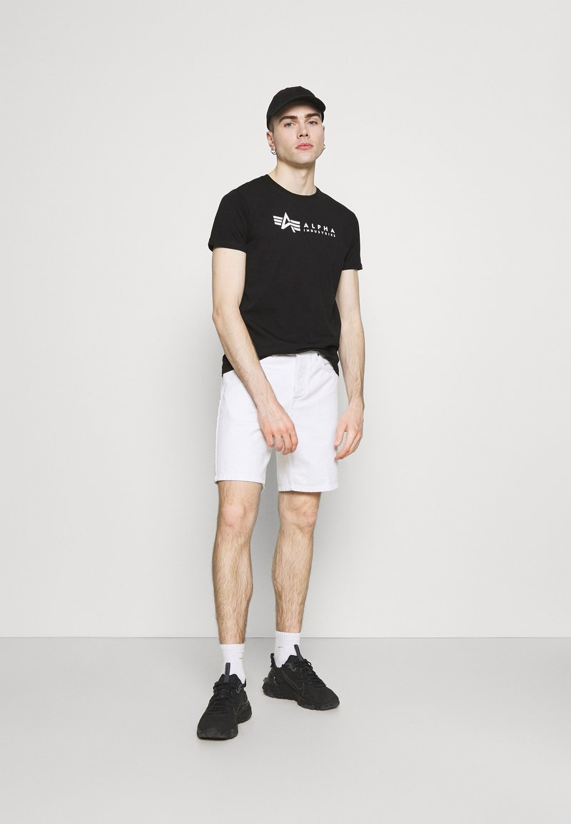 Alpha Industries - ALPHA LABEL 2 PACK - T-shirt con stampa - black
