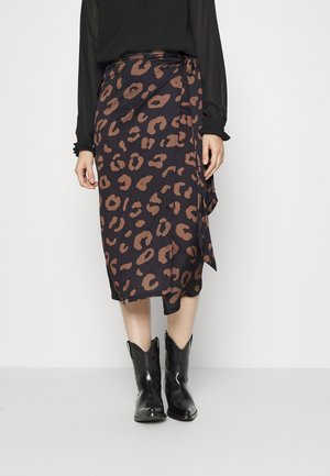 JASPRE - Wrap skirt - black/ brown