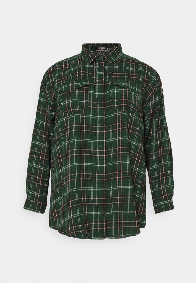 OVERSIZED CHECK  - Button-down blouse - green