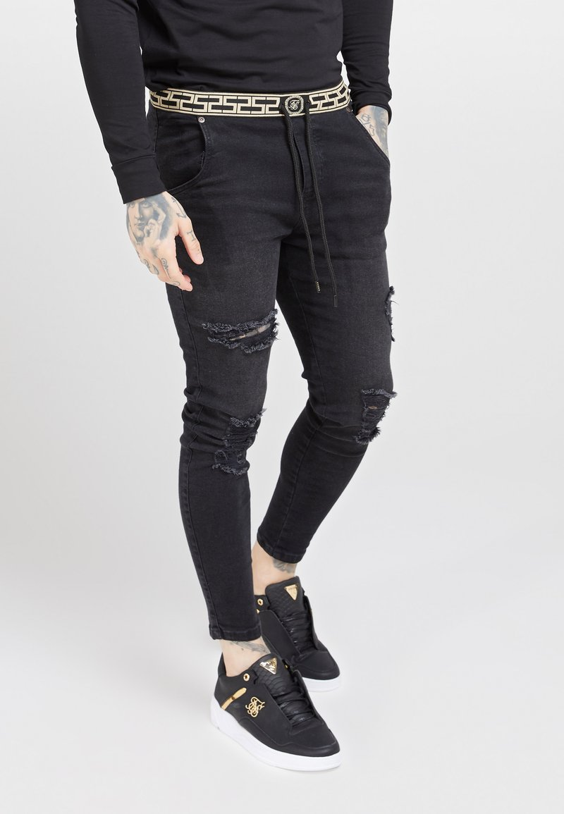 SIKSILK - ELASTICATED WAIST DISTRESSED - Jeans Skinny - black