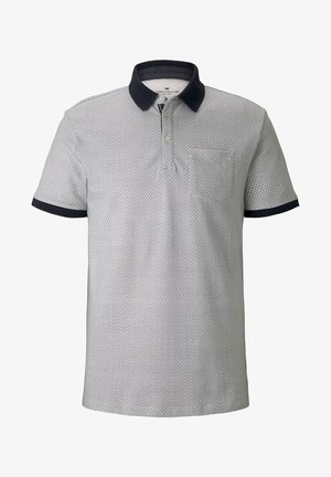 Polo shirt - white navy wave design