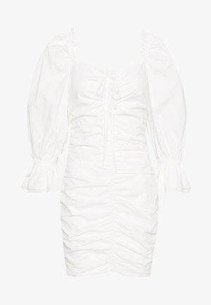 POPLIN UP FRONT PUFF RUCHED MINI DRESS - Sukienka letnia - white