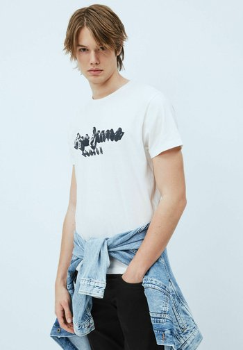 T-shirt med print - blanco off