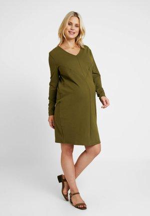 DRESS GEOMETRY - Jersey dress - khaki