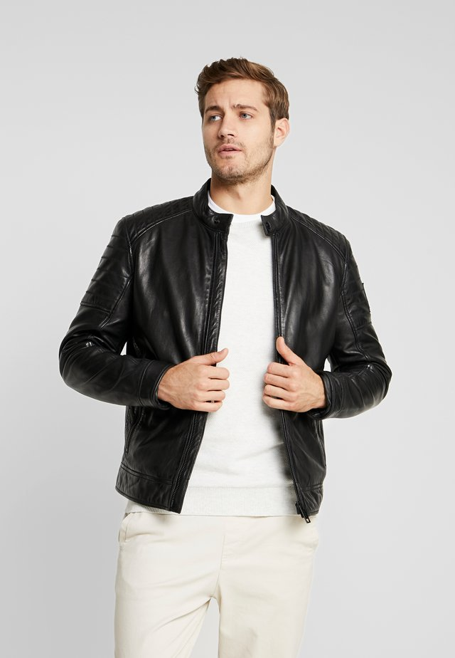 DERRY - Leather jacket - black