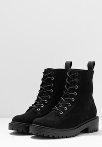ONLY SHOES - BOLD LACEUP BOOTIE  - Botki na platformie - black - 4