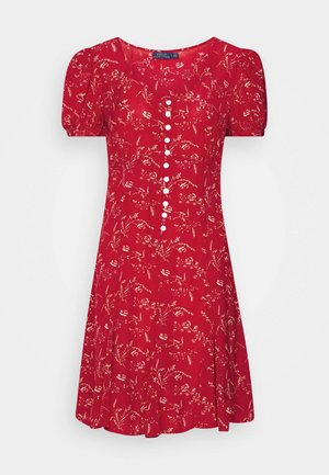 SHORT SLEEVE CASUAL DRESS - Vestido informal - red