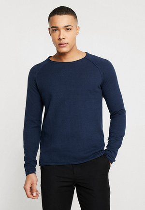 JJEUNION CREW NECK ESSENTIALS - Stickad tröja - ensign blue/navy blazer