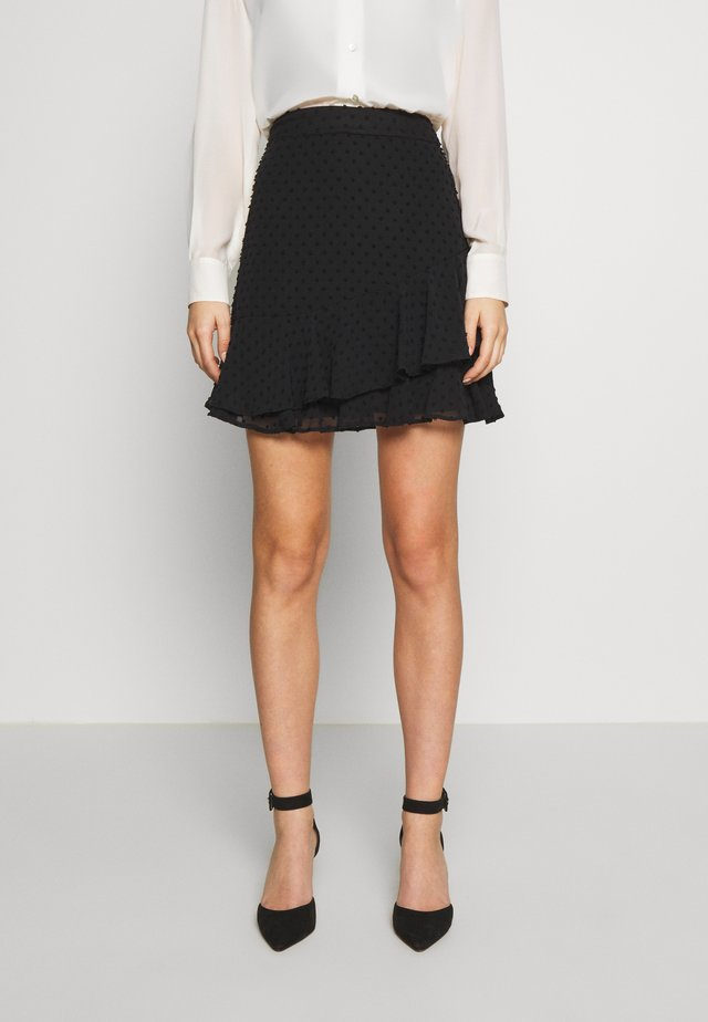 BLACK TEXTURED RUFFLE MINI SKIRT - Mini skirt - black
