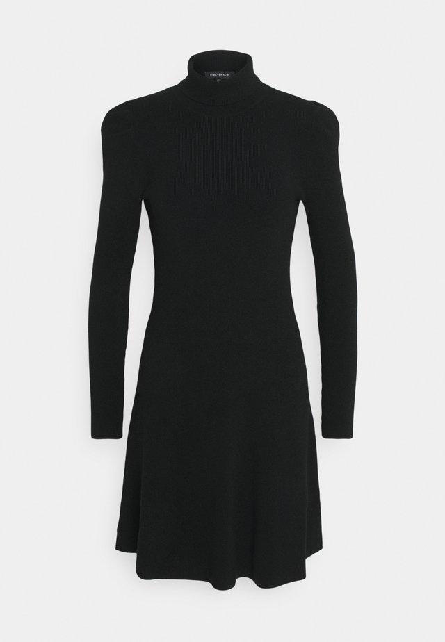 NICOLE PUFF SLEEVE DRESS - Strikket kjole - black