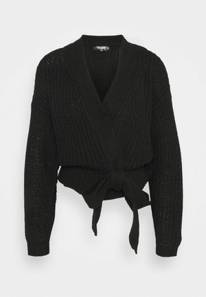 BELTED CARDIGAN - Cardigan - black