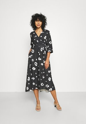 LONDON HIGH LOW WRAP DRESS - Cocktailjurk - black