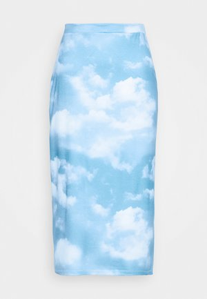EMILIE MALOU SKY PRINTED SKIRT - Jupe trapèze - light blue