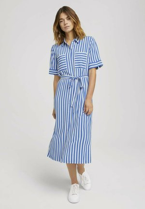 Shirt dress - mid blue white stripe