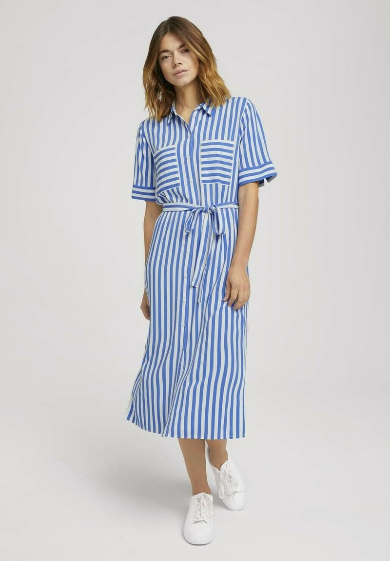 TOM TAILOR DENIM - Shirt dress - mid blue white stripe