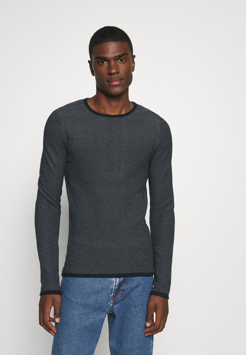 Selected Homme - SLHDEAN MIX CREW NECK - Jumper - sky captain/egret