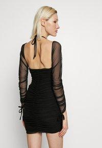 Club L London - BARDOT TIE FRONT RUCHED MINI DRESS - Day dress - black - 2