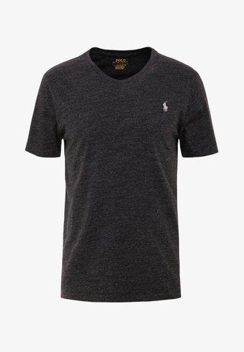 CUSTOM SLIM FIT JERSEY V-NECK T-SHIRT - Basic T-shirt - black marl heather