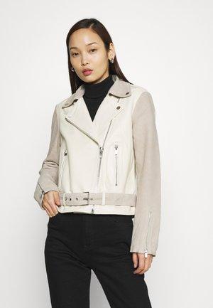 VISAND BIKER JACKET - Leather jacket - birch/humus