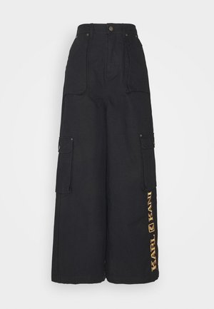RETRO BAGGY PANTS - Bojówki - black