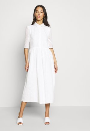 SMOCK SHIRT MIDI DRESS - Vestido camisero - white